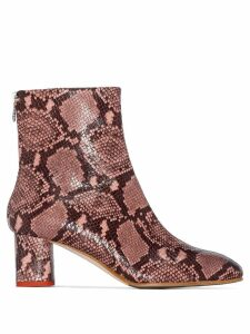 Aeyde 60mm Mel snake-effect ankle boots - PINK