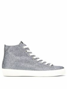 Leather Crown glitter hi-top sneakers - Silver