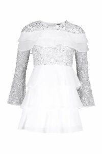 Womens Premium Hand Embellished Tiered Skater Dress - white - 6, White
