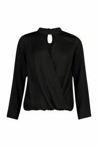 Womens Satin Choker Wrap Front Top - black - 12, Black