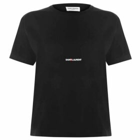 Saint Laurent Crew Neck Logo T Shirt