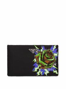 Prada rose print padded clutch - Black