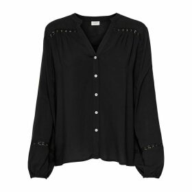 Embroidered Gathered Blouse with V-Neck