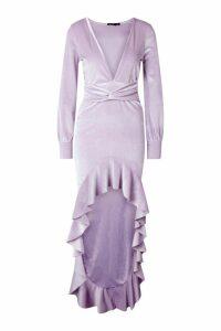 Womens Velvet Plunge Blouson Sleeve Dip Hem Maxi Dress - purple - 12, Purple