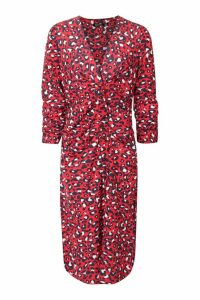 Womens Animal Button Front Midi Dress - red - 12, Red
