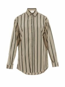 On The Island By Marios Schwab - Ransvik Striped-twill Shirt - Womens - Green Stripe