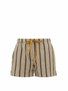 On The Island By Marios Schwab - Sennen Striped Twill Shorts - Womens - Green Stripe