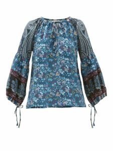 D'ascoli - Leela Floral-print Silk Blouse - Womens - Blue Print