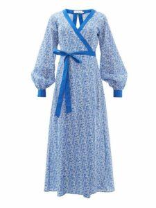The Upside - Kate Floral-print Cotton Wrap Dress - Womens - Blue White