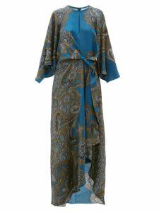 D'Ascoli - Samovar Paisley-print Silk-twill Maxi Dress - Womens - Blue Multi