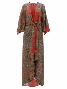 D'Ascoli - Printed Silk Maxi Dress - Womens - Red Multi