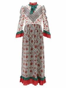 D'Ascoli - Cormandel Floral-print Ruffled Silk Maxi Dress - Womens - White Multi
