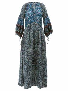 D'Ascoli - Leela Floral-print Silk Maxi Dress - Womens - Blue Print