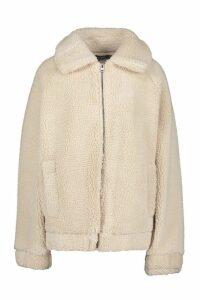 Womens Oversized Teddy Faux Fur Bomber Jacket - beige - 14, Beige