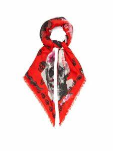 Alexander Mcqueen - Torn Rose Skull Print Scarf - Womens - Black