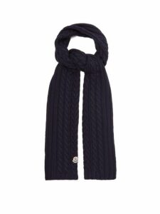 Moncler - Cable Knit Wool Scarf - Womens - Navy