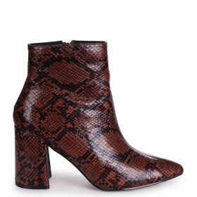 ALICE - Brown Snake Block Heeled Boot With Pointed Toe