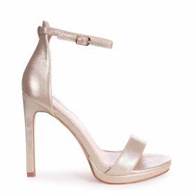 GABRIELLA - Gold Metallic Barely There Stiletto Heel With Slight Platform
