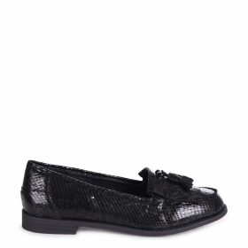 ROSEMARY - Black Snake Effect Leather Classic Slip On Loafer
