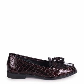 ROSEMARY - Burgundy Croc Patent Leather Classic Slip On Loafer