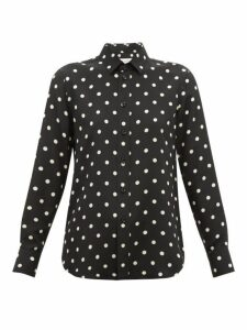 Saint Laurent - Polka Dot-print Silk Blouse - Womens - Black