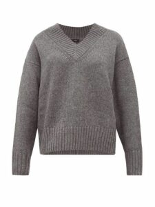 Joseph - V-neck Wool-blend Sweater - Womens - Dark Grey