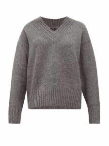 Joseph - V-neck Wool-blend Sweater - Womens - Dark Grey