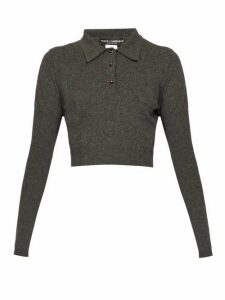 Dolce & Gabbana - Cropped Cashmere Polo Shirt - Womens - Dark Grey