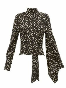 Petar Petrov - Becke Asymmetric-sleeve Polka-dot Silk Blouse - Womens - Black White