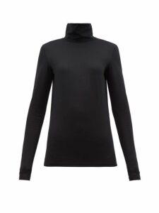 Jil Sander - Logo-embroidered Roll-neck Cotton-blend Top - Womens - Black