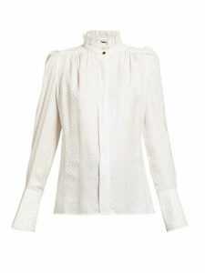 Isabel Marant - Lamia Jacquard And Polka-dot Silk-blend Blouse - Womens - White Multi