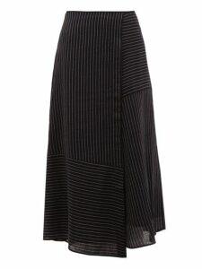 Cefinn - Patchwork Pinstripe Voile Midi Skirt - Womens - Navy White