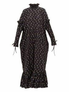 Cecilie Bahnsen - Nanna Floral-jacquard Ruffle-trimmed Dress - Womens - Black Blue