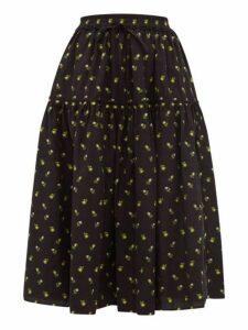 Cecilie Bahnsen - Adea Floral Fil-coupé Cotton Skirt - Womens - Black Yellow