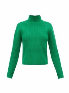Tibi - Zip-through Roll-neck Ribbed Sweater - Womens - Green