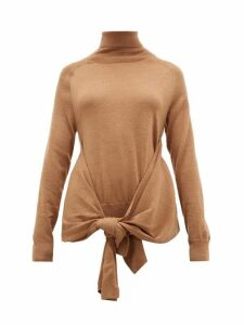 Jw Anderson - Waist Tie Roll Neck Wool Sweater - Womens - Beige