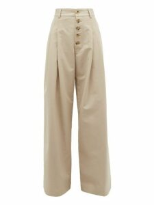 JW Anderson - Wide-leg Cotton Trousers - Womens - Grey