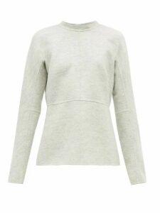 Jil Sander - Fluted Hem Felted Wool Top - Womens - Light Grey