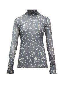Acne Studios - Denis Star-print Cotton Roll-neck Top - Womens - Dark Grey