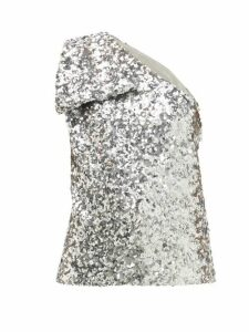Halpern - Sequinned One-shoulder Top - Womens - Silver