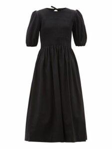 Molly Goddard - Rory Shirred Cotton Midi Dress - Womens - Black