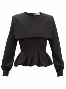 Molly Goddard - Lucy Shirred Cotton-poplin Peplum Top - Womens - Black