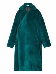 Balenciaga - Asymmetric-fastening Faux-shearling Coat - Womens - Dark Green