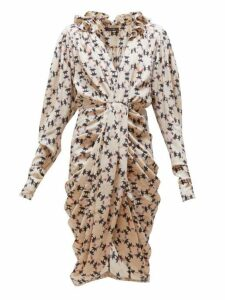 Isabel Marant - Blandine Draped Geometric-print Silk-blend Dress - Womens - Ivory Multi