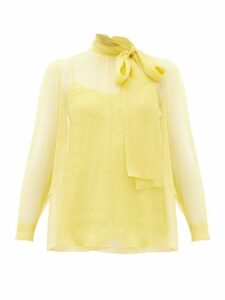 Valentino - Pussy-bow Chiffon Blouse - Womens - Yellow