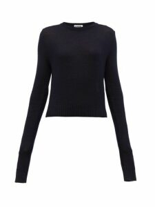 Jil Sander - Exaggerated Sleeves Wool Sweater - Womens - Dark Navy