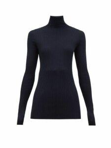 Jil Sander - Roll Neck Ribbed Wool Blend Sweater - Womens - Dark Navy