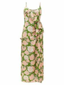 Miu Miu - Ruffled Floral-print Silk-jacquard Dress - Womens - Green Multi
