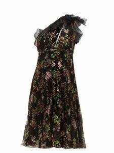 Giambattista Valli - One-shoulder Floral-print Silk-georgette Dress - Womens - Black Multi