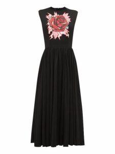 Prada - Electric Rose-print Cotton Midi Dress - Womens - Black Print